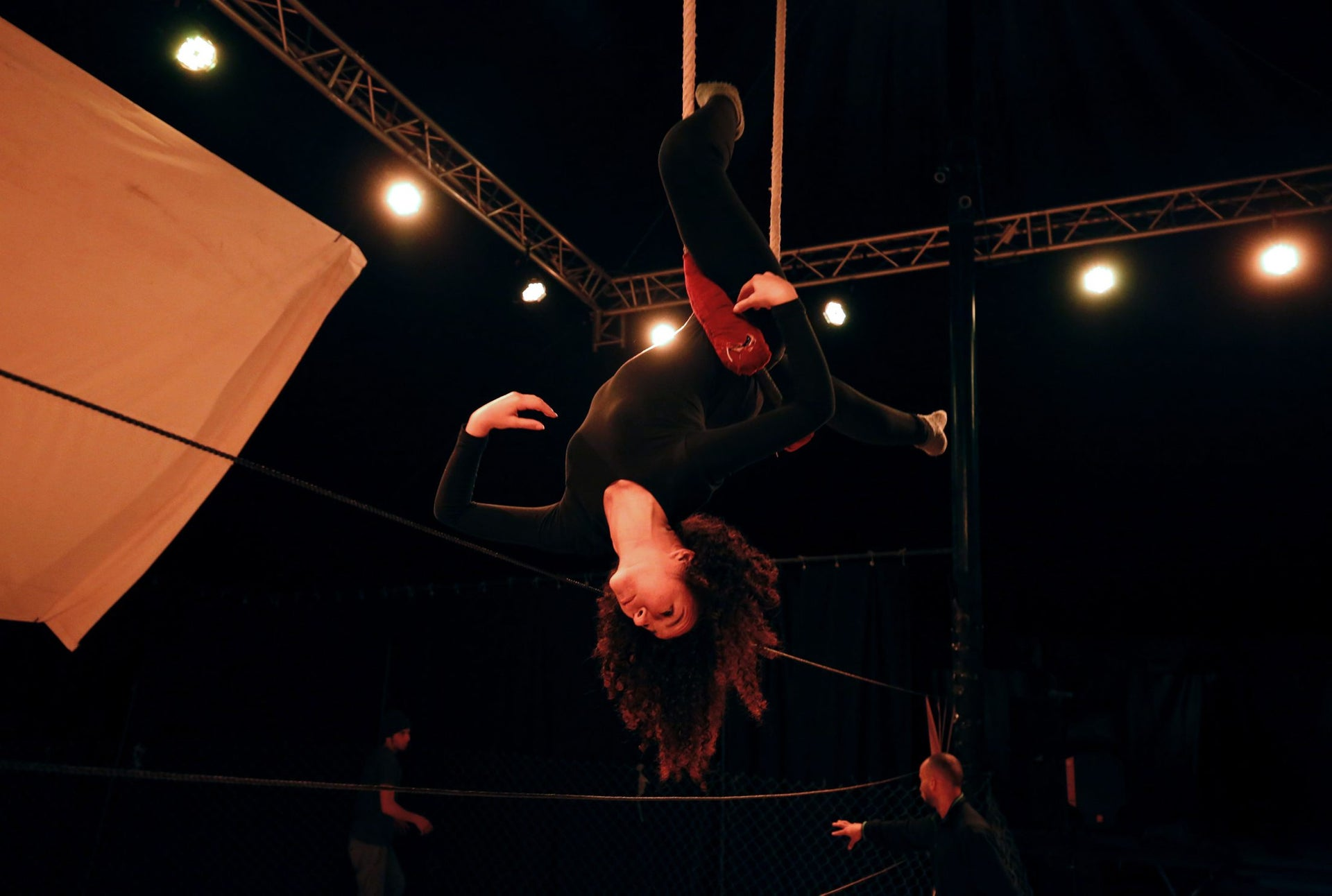 A Palestinian woman trains at the Palestinian Circus School in the village of Bir Zeit, near Ramallah on March 21, 2016.