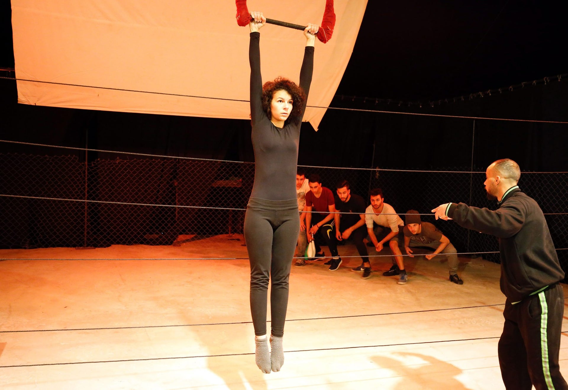 Palestinians train at the Palestinian Circus School in the village of Bir Zeit, near Ramallah on March 21, 2016.