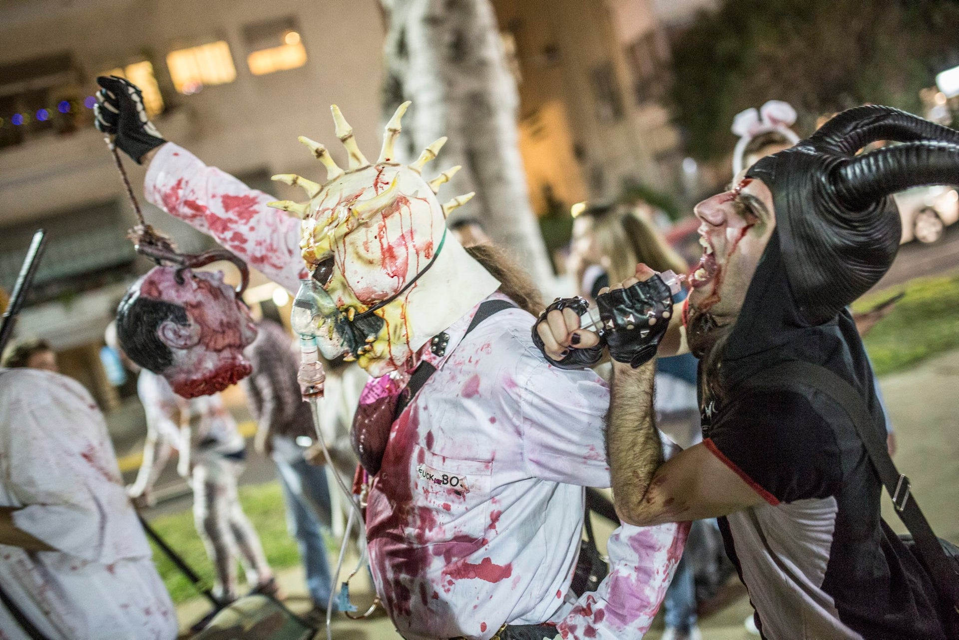 People march in the Tel Aviv zombie parade, March 27, 2016.