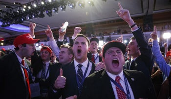 Supporters of President-elect Donald Trump cheer during as they watch election returns during an election night rally, Wednesday, Nov. 9, 2016, in New York.