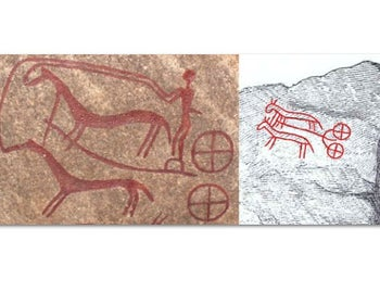 War chariot images on Stone 7 in the Kivik King's Grave (left) and on the Villfarar Stone (right), from Early Bronze Age, indicate an active exchange between Mycenaean Greece and southeast Sweden.