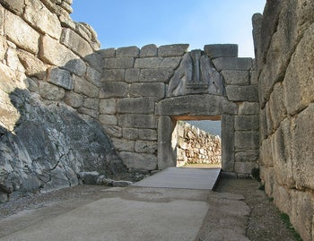 The Lion's Gate at Mycenae, another major ancient trading hub. The picture shows a gateway with two stone lions face to face over the top. Artifacts typical of Mycenae were among those found at Tell el-Ajjul in Gaza, which had been a major trading center some 3600 years ago.