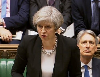 Britain's Prime Minister Theresa May speaks in the Houses of Parliament, Thursday March 23, 2017
