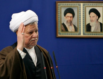 Akbar Hashemi Rafsanjani greets worshipers during Eid al-Adha prayers (2006): Then the president of Iran, he and other top Iranian officials were tied to the AMIA bombing