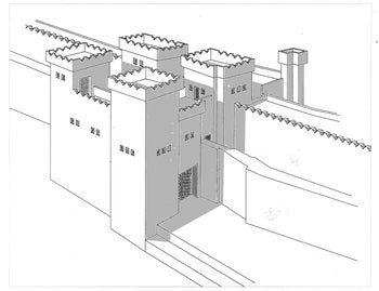 Isometric diagram of the 8th century BCE Geshur city gate, showing four towers and the city wall stretching out on both sides.
