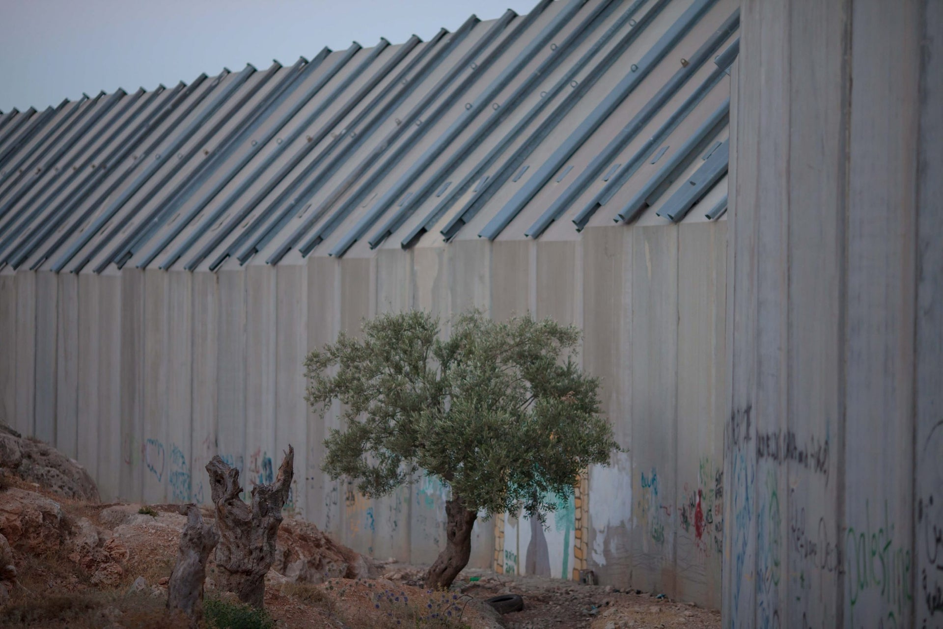 The separation barrier between Israel and the West Bank near Bayt Jala, south of Jerusalem.