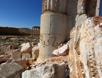 Graffiti and damage are seen at the historical Bel Temple in the ancient city of Palmyra in the central city of Homs, Syria. April 1, 2016