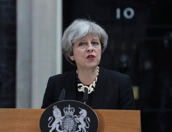 Britain's Prime Minister Theresa May makes a statement in Downing Street, London, after chairing a meeting of the Government's emergency Cobra committee following Saturday night's terrorist incident in London. Several people were killed in the terror attack at the heart of London and dozens injured. The prime minister called for a tougher stance at home against extremists.