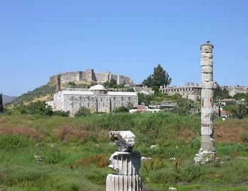 The site of the Artemis Temple at Ephesus today. The pillars were probably mostly repurposed.