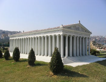 This model at Miniatürk Park, Istanbul, Turkey, attempts to recreate the probable appearance of Artemis' temple at Ephesus.