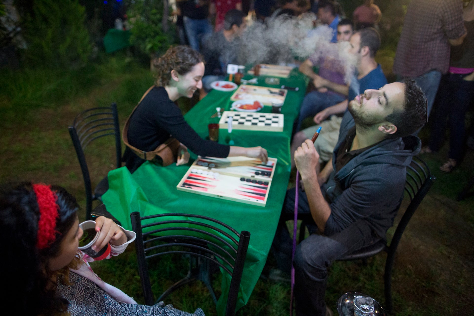 A backgammon tournament between Jews and Arabs in Jerusalem, August 2016.