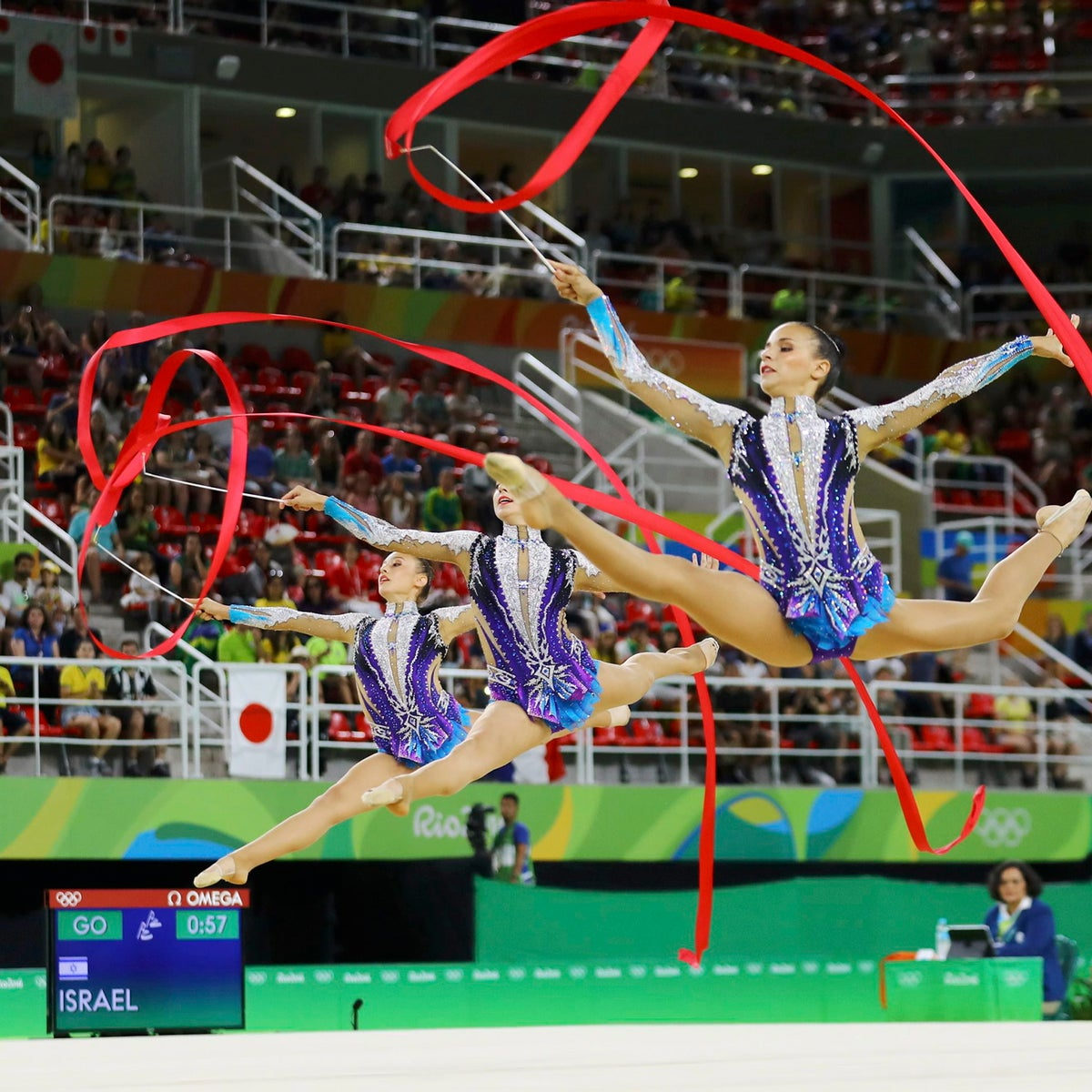 Team Israel compete using ribbons at the Summer Olympics in Rio de Janeiro, Brazil, August 20, 2016.