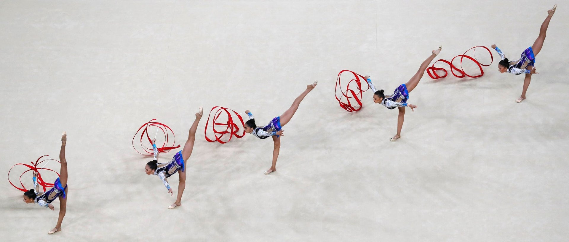 Israel's team compete in the group all-around qualifying event of the Rhythmic Gymnastics at the Olympic Arena during the Rio 2016 Olympic Games in Rio de Janeiro on August 20, 2016.