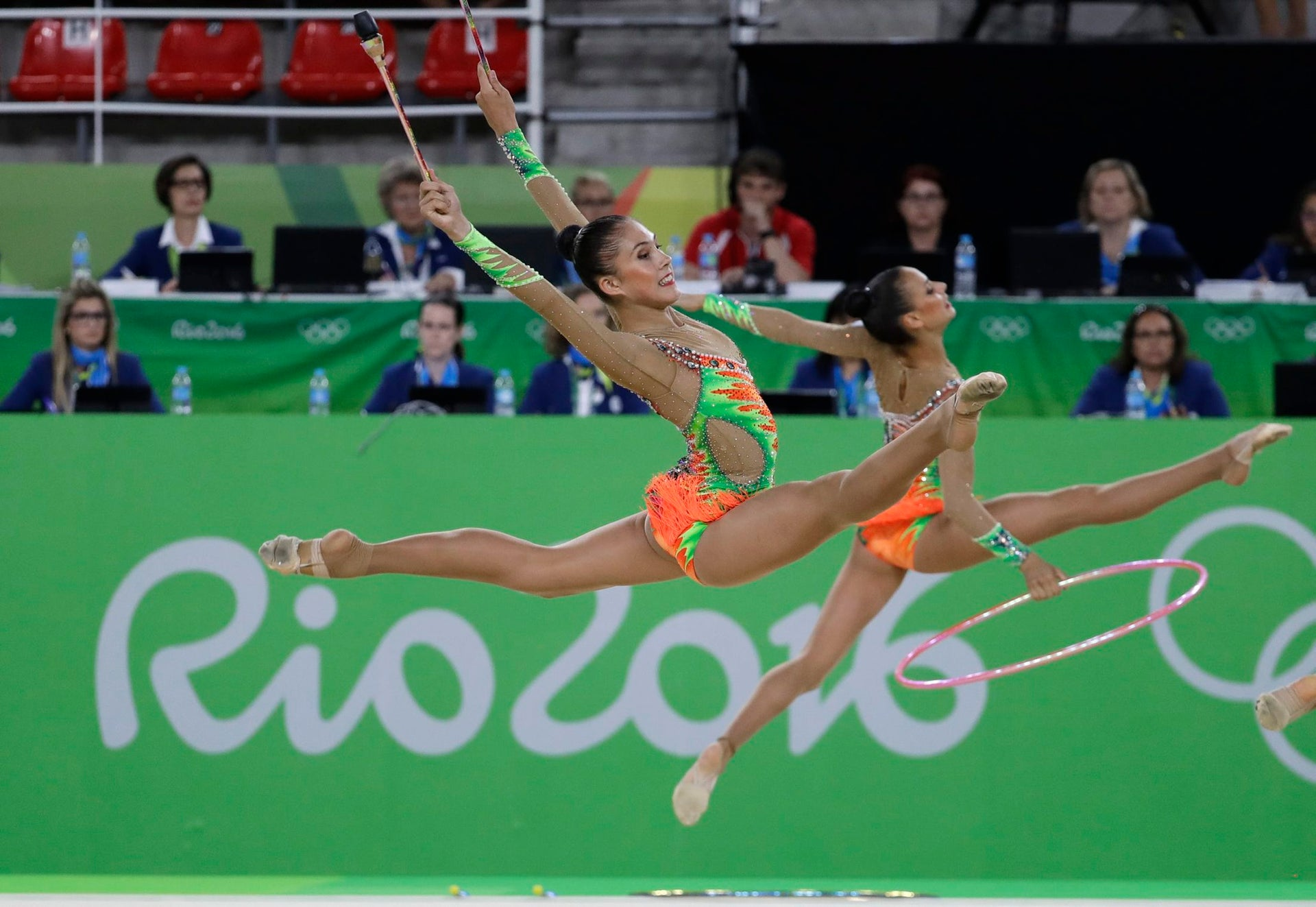 Team Israel performs during the rhythmic gymnastics group all-around qualifications at the 2016 Summer Olympics in Rio de Janeiro, Brazil, Saturday, Aug. 20, 2016.