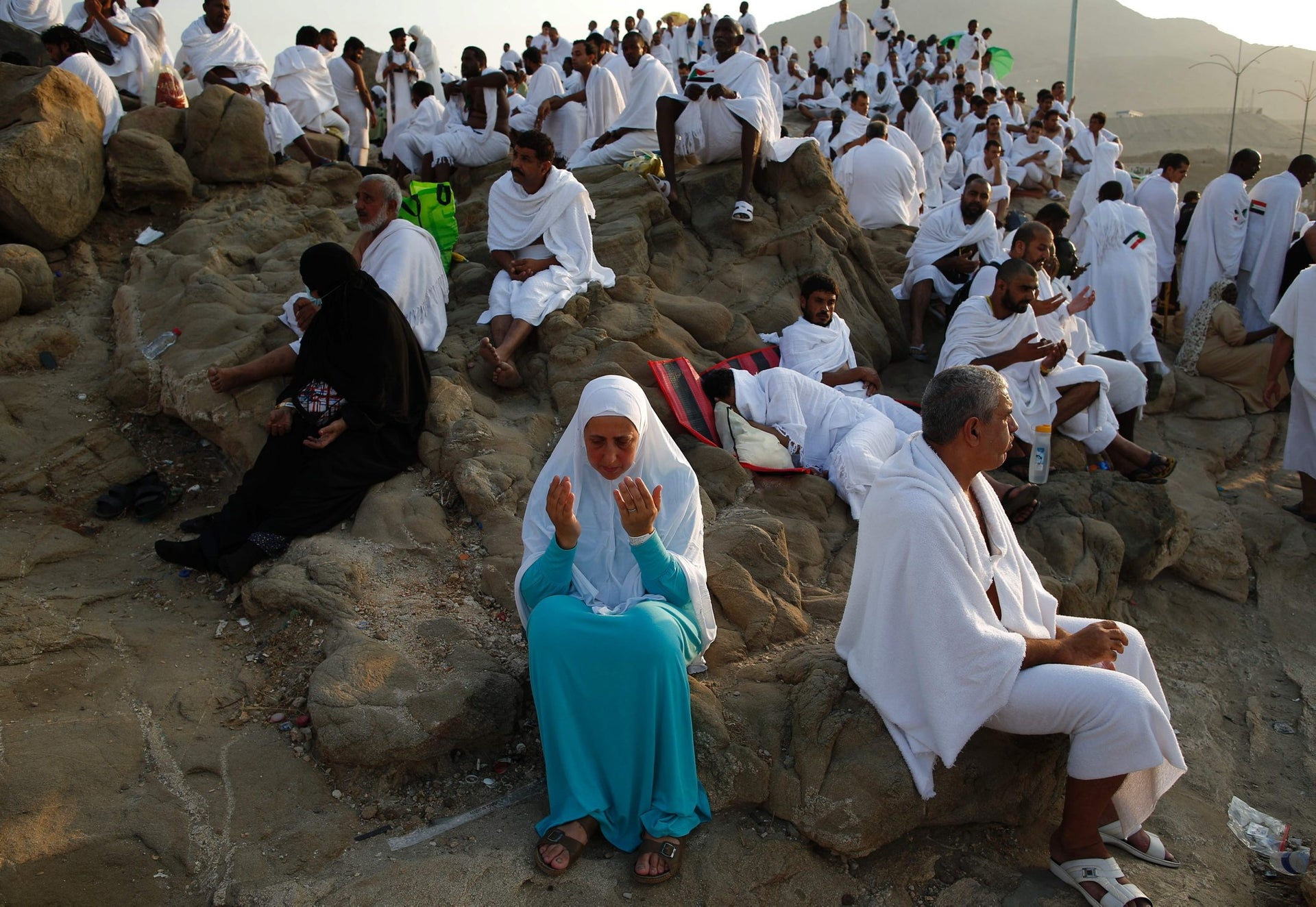 Muslim pilgrims join one of the Hajj rituals on Mount Arafat near Mecca early on September 11, 2016 Close to 1.5 million Muslims from around the world prepared on September 10 night for the climax of the annual hajj pilgrimage at a rocky hill known as Mount Arafat. The pilgrims will mark September 11 with day-long prayers and recitals of the Koran holy book at the spot in western Saudi Arabia where they believe their Prophet Mohammed gave his last hajj sermon.