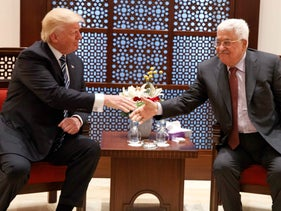 U.S. President Donald Trump, left, meets with Palestinian President Mahmoud Abbas in the West Bank city of Bethlehem. May 23, 2017