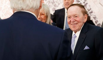 Sheldon Adelson and wife Miriam talk with Secretary of State, Rex Tillerson, before a speech by President Trump in Jerusalem, May 23, 2017