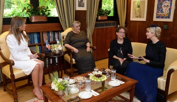 Anat Rivlina and Ivanka Trump at the President's Residence in Jerusalem, May 22, 2017.