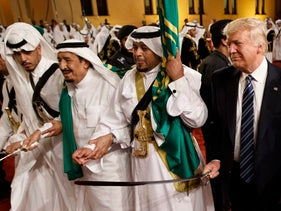 U.S. President Donald Trump taking part in a traditional sword dance in Riyadh, May 20, 2017.