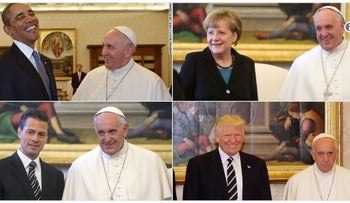 User generated collage of photos of Pope Francis meeting different world leaders