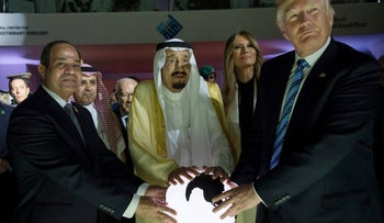 Egyptian President al-Sissi, Saudi King Salman and President Trump, visit a new Global Center for Combating Extremist Ideology, in Riyadh