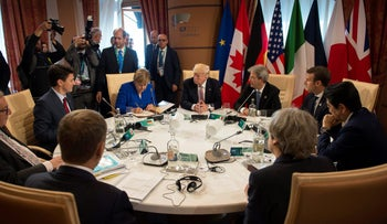 German Chancellor Angela Merkel, U.S. President Donald Trump and other leaders at the G7 summit in Taormina, Sicily, Italy, May 26, 2017