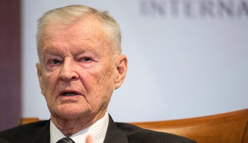 Former U.S. National Security Advisor, Zbigniew Brzezinski, speaks at a forum hosted by the Center for Strategic and International Studies in Washington, March 9, 2015.