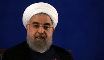 In this picture taken on Monday, May 22, 2017, Iranian President Hassan Rohani speaks in his press conference in Tehran, Iran.