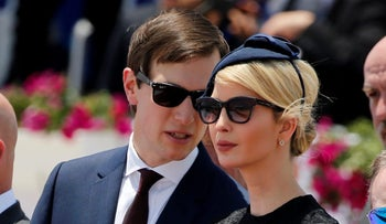 Jared Kushner talks to his wife Ivanka Trump during a welcoming ceremony for her father U.S. President Donald Trump at Ben Gurion International Airport in Tel Aviv, May 22, 2017.