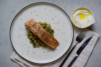 Great for Shavuot: Seared salmon with herb tabbouleh and labneh sauce.