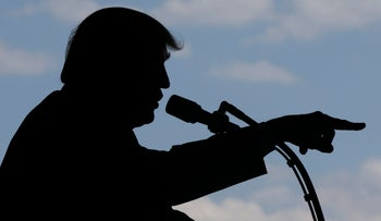 U.S. President Donald Trump addressing U.S. military troops at the Sigonella Naval Air Station, Italy, May 27, 2017.