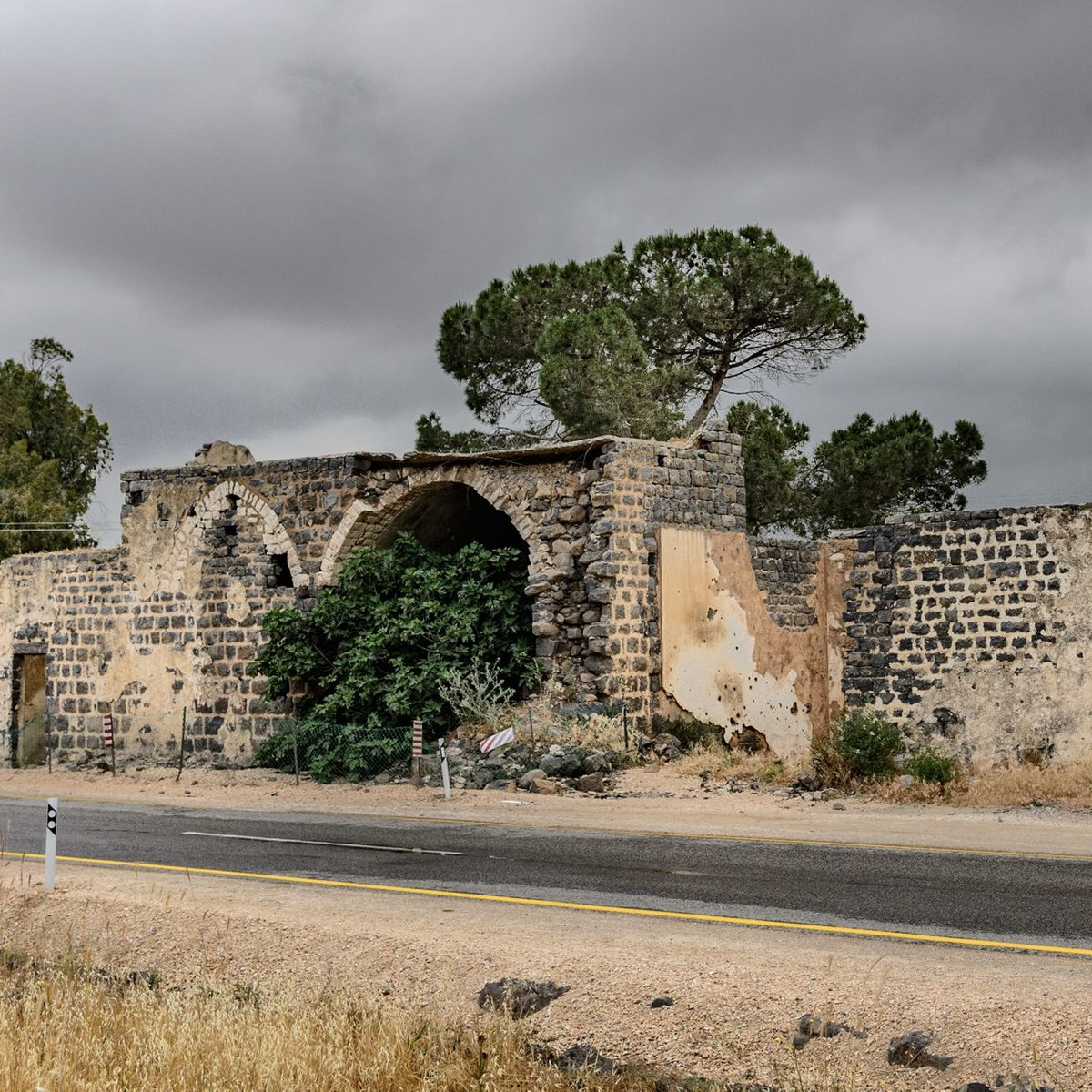 The remnants of Emir Faour Palace at the Ha'emir Junction in the Golan Height