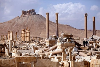 A general view shows ruins in the historic city of Palmyra, Syria March 4, 2017.