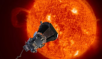 An image depicts NASA's Solar Probe Plus spacecraft approaching the sun.