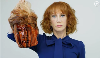 Kathy Griffin holding what was meant to look like Donald Trump's severed head.