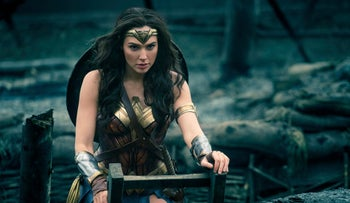"""This image released by Warner Bros. Entertainment shows Gal Gadot in a scene from """"Wonder Woman,"""" in theaters on June 2."""
