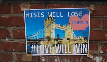 A poster is taped on a wall in the London Bridge area of London, Sunday, June 4, 2017.