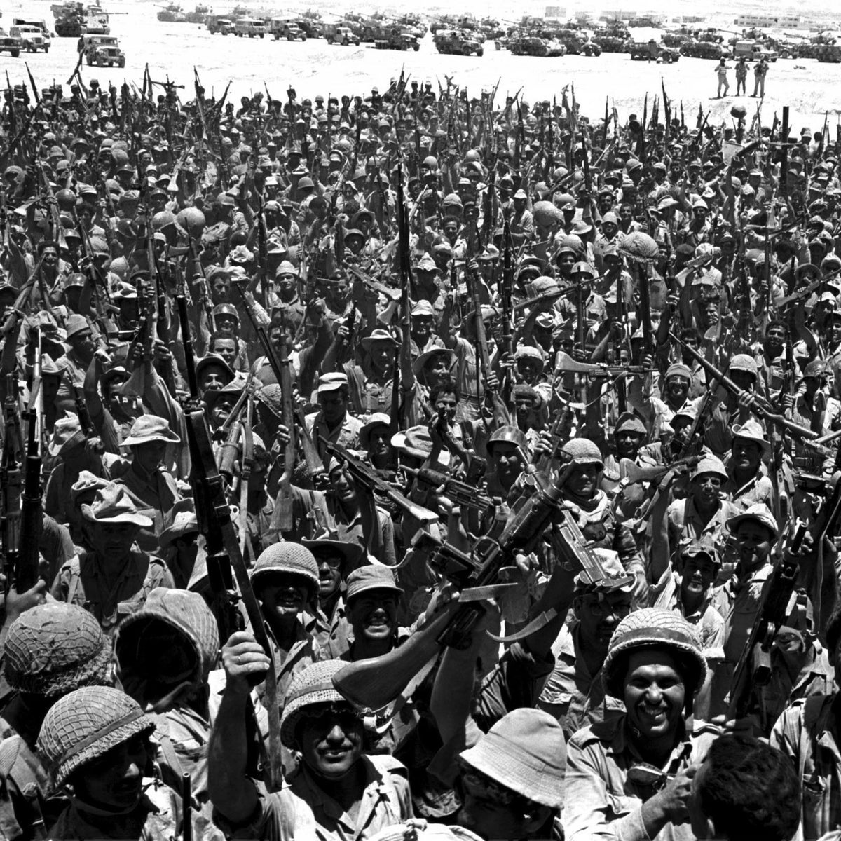 Jubilant Israeli soldiers in Sinai, Egypt, at the end of the Six-Day War, June 10, 1967.