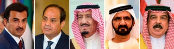 (COMBO) This combination of file pictures created on June 5, 2017, shows (L to R) Qatar's Emir, Sheikh Tamim bin Hamad al-Thani in New York on September 20, 2016, Egyptian President Abdel Fattah al-Sisi in Cairo on March 2, 2017, Saudi King Salman in Riyadh on January 1, 2013, Prime Minister of the United Arab Emirates (UAE) and ruler of Dubai, Sheikh Mohammed bin Rashid al-Maktoum, in Riyadh on May 05, 2015 and Bahrain's King Hamad bin Issa al-Khalifa in Riyadh on May 21, 2017.