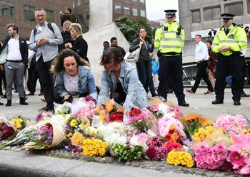 'Corbyn rightly believes the war on terror has brought terror to the streets of Manchester and London': Laying flowers on the south side of London Bridge, near to Borough Market, the site of a terror attack on June 3. June 5, 2017