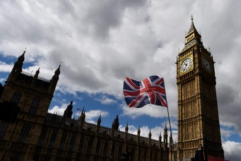The Union Flag flying near the Houses of Parliament the day before a general election, June 7, 2017.
