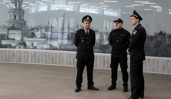 FILE PHOTO: Police patrol a subway station near the International Exhibition Centre, which was the arena for the Eurovision Song Contest 2017, in Kiev, Ukraine May 4, 2017.