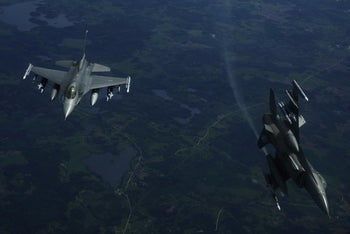 F16 fighter jets flying over Poland during BALTOPS exercise, June 7, 2017.