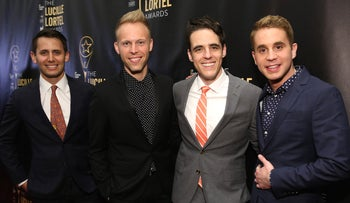 """Some of the talent behind """"Dear Evan Hansen,"""" from left: Lyricists Benj Pasek and Justin Paul, writer Steven Levinson and lead actor Ben Platt at the NYU Skirball Center, May 7, 2017."""