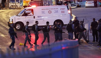 The scene of a deadly knife and gun attack in Jerusalem, June 16, 2017.