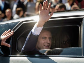 French President Emmanuel Macron leaving the polling station after voting in the first of two rounds of parliamentary elections in Le Touquet, France, June 11, 2017.