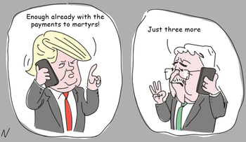 Illustration: Donald Trump and Mahmoud Abbas discuss the Palestinian Authority's funding of terrorists' families