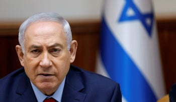 Israeli Prime Minister Benjamin Netanyahu attends the weekly cabinet meeting at his office in Jerusalem June 25, 2017.