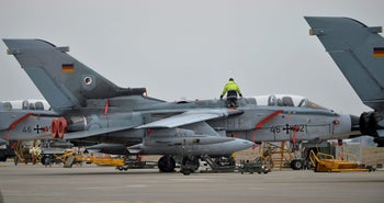 After spat with Turkey, Germany moves anti-ISIS planes to Jordan. Pictued: A German Tornado jet at Incirlik airbase in Adana, Turkey, January 21, 2016.