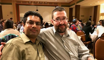 Mohammed Salahoudin Choudary, left, and Sol Auerbach at the Muslim-Jewish Solidarity Committee's third annual Iftar in a Synagogue, Temple Emanu-El, New York, June 15, 2017.